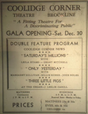 Ad for opening of theater, 1933