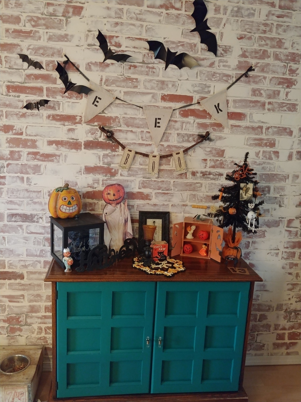 Halloween decorated credenza