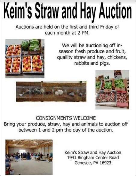 8-16 Keim's Auction, Genesee, PA