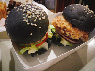 Burger with charcoal bun