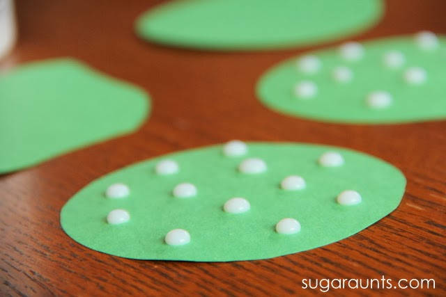 Dots of glue for cherry blossom tree craft