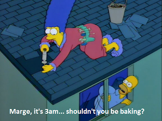 simpsons homer marge it is 3am should not you be baking, homer simpson, the simpsons, marge simpson, simpsons shouldnt you be baking, women at kitchen simpsons