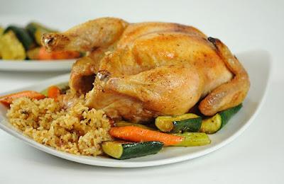 دجاج محشى بالأرز والقرفة