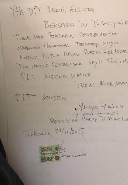Tulis 'surat sakti' Novanto Minta Tak Dicopot Sebagai Ketum Golkar dan Ketua DPR