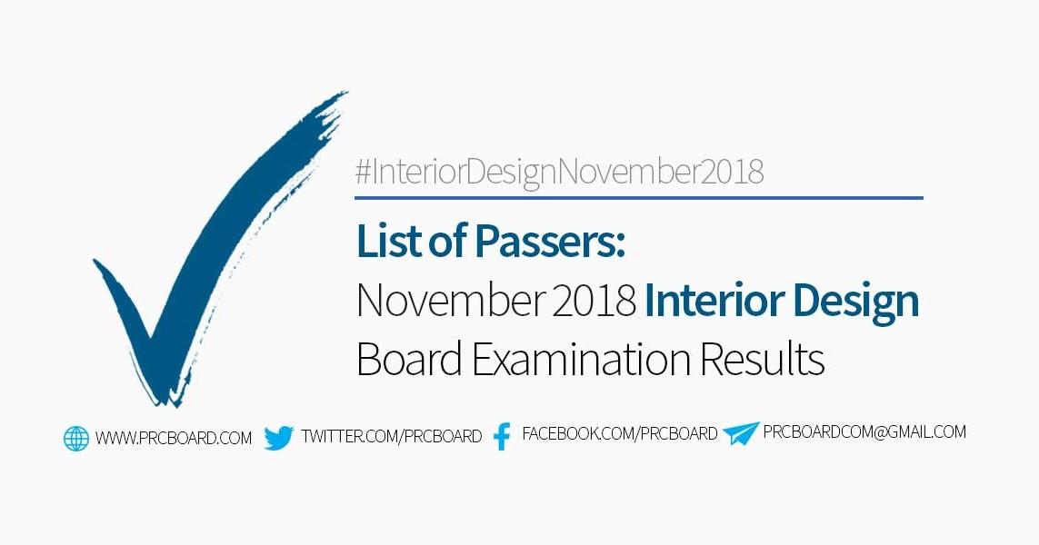 Interior Designer Board Exam Results November 2018 List Of Passers Prcboard Com