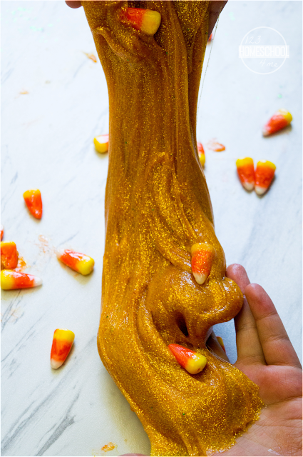 fall candy corn slime recipe