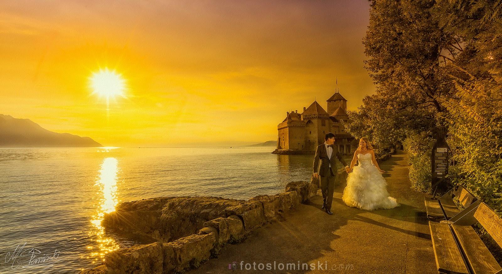 Ciekawe pomysły na romantyczne zdjęcia przy zachodzie słońca (retusz i edycja zdjęć ślubnych Photoshop).