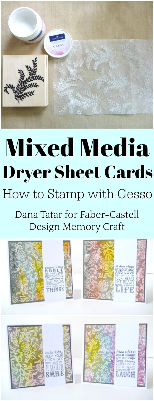 Colorful Stamped Dryer Sheet and Specialty Paper Mixed Media Cards