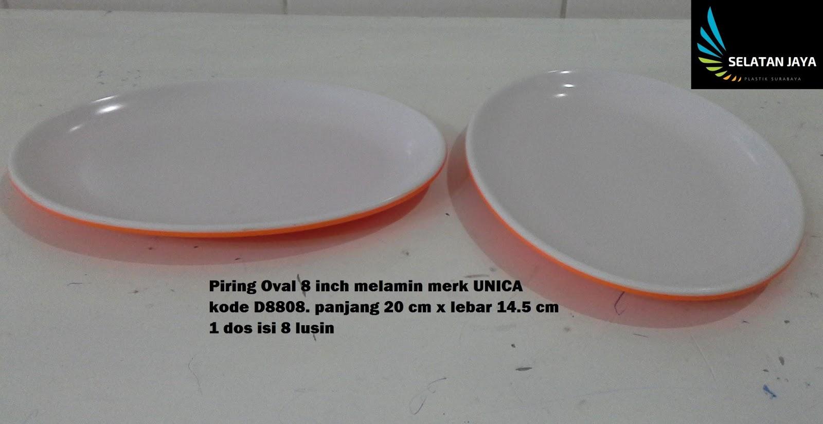 Piring oval melamin 8 inch merk UNICA kode D8808 putih orange. ukuran  panjang 20 cm x lebar 14.5 cm x tinggi 1.5 cm. 1 dus isi 8 lusin. piring  oval untuk ... 243e043f0b