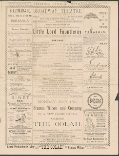 "A newspaper advertisement for a play of ""Little Lord Fauntleroy."""