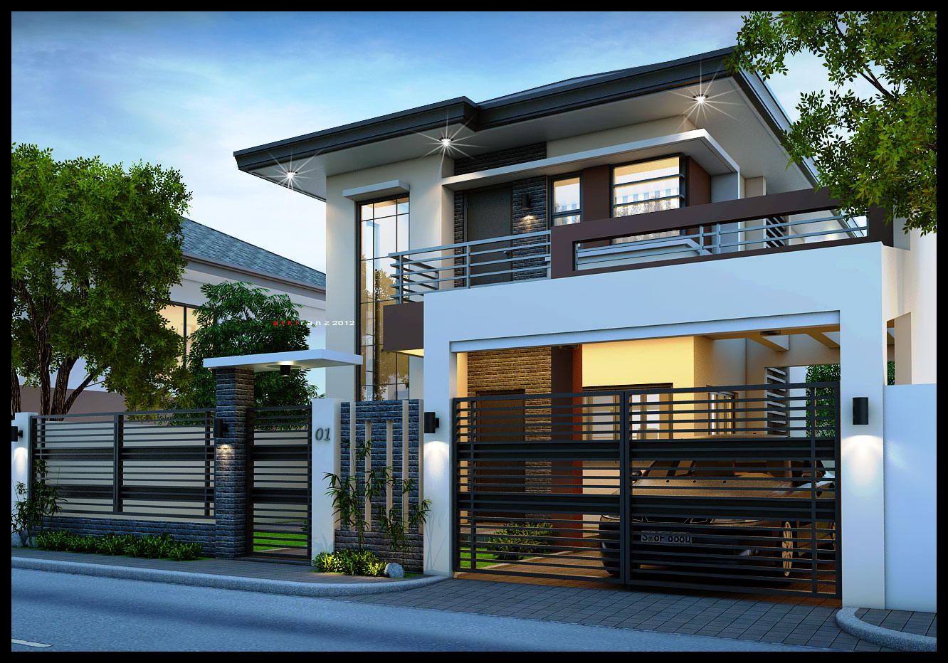 2 storey modern small houses with gate of philippines for New contemporary home designs
