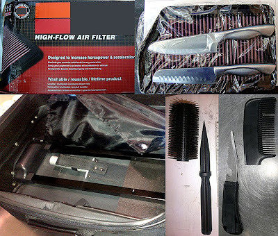 (L-R) Knives Concealed in Filter (IAH), Knife Concealed in Lining of Bag (PHL), Hair Brush Knife (LAX), Comb Knife (MCO)