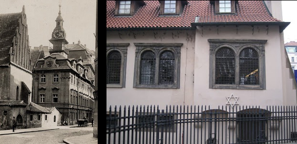 Pinkas Synagogue Then and Now