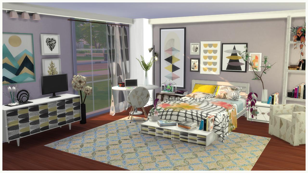 Ingrid bedroom sims 4 custom content for Dormitorio sims 4