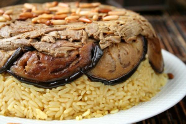 Eggplant and rice (Makloobet betenjan)