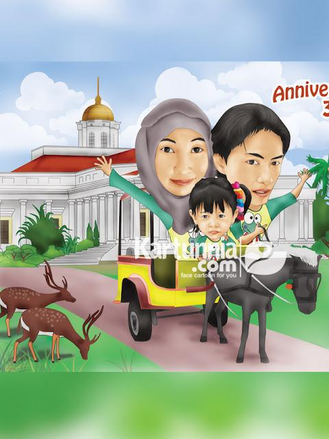 Karikatur keluarga naik andong