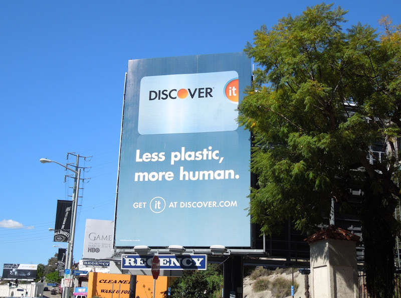 Discover it Less plastic more human billboard