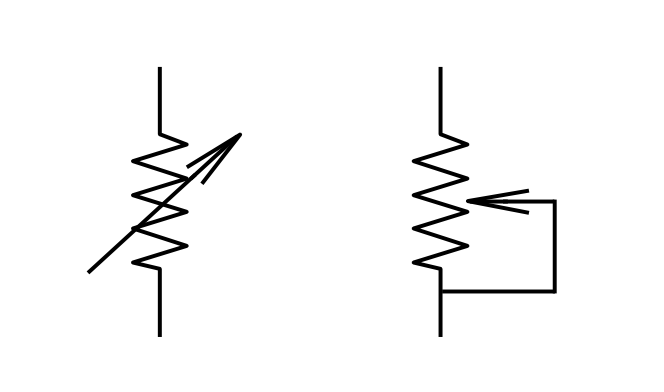 variable resistors working and symbols