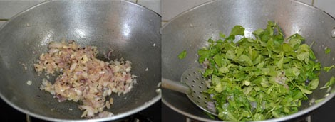 sauteing onions and methi leaves