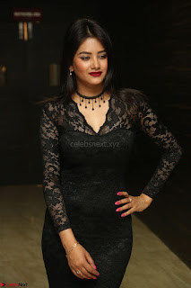 Actress Monica in spicy transparent Black Top at O Pilla Nee Valla Movie Audio Launch Feb 2017 089.JPG