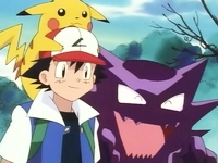 Ash y Pikachu con Haunter