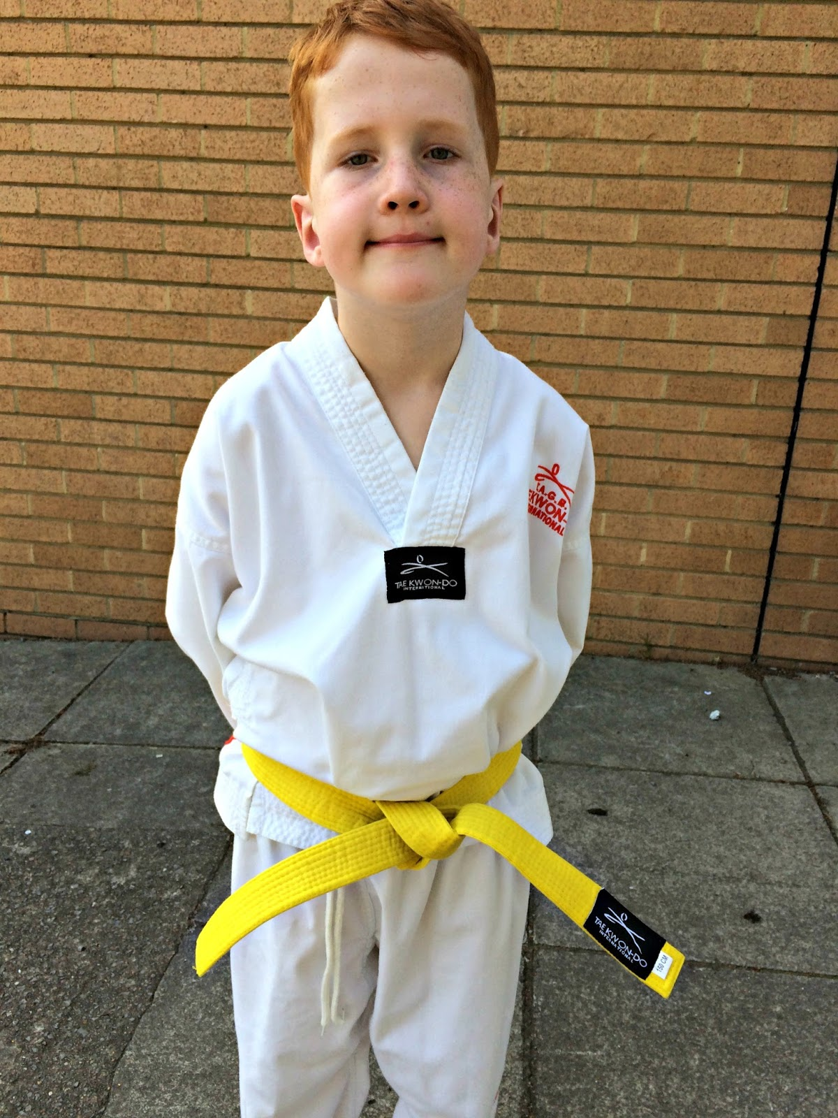 Ieuan in his Tae Kwon Do Whites