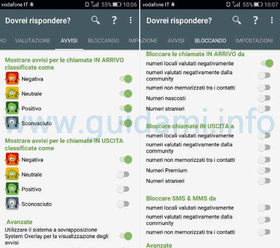 App Android Dovrei rispondere avvisi e blocco chiamate
