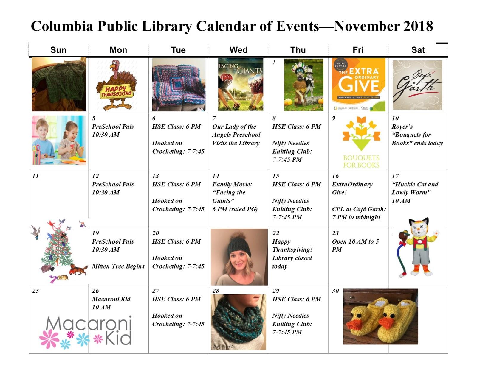 Columbia Spy Columbia Public Library November 2018 Calendar Of Events