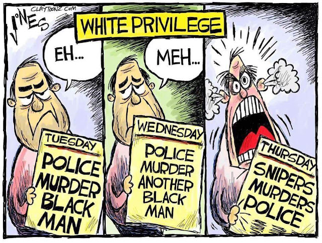 Title:  White Privilege.  Image One:  White man holding Tuesday's newspaper with headline, Police murder black man.  Man says,