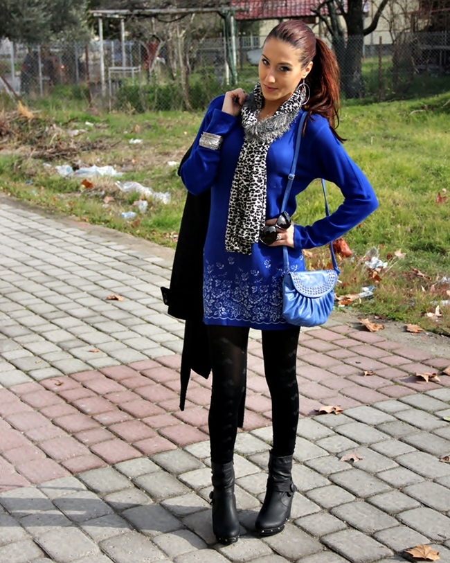 cobalt blue knitted tunic dress