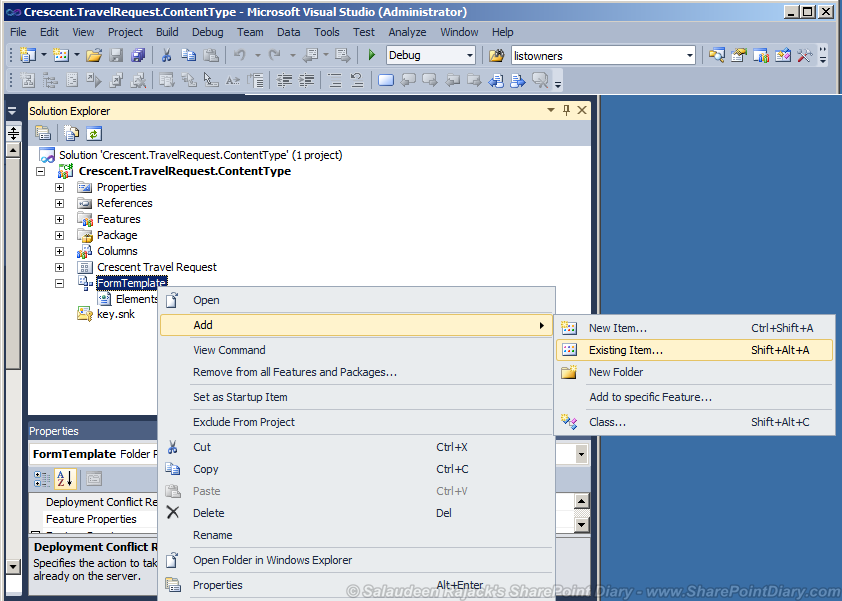 Provision Cotent Type with document template in Visual Studio