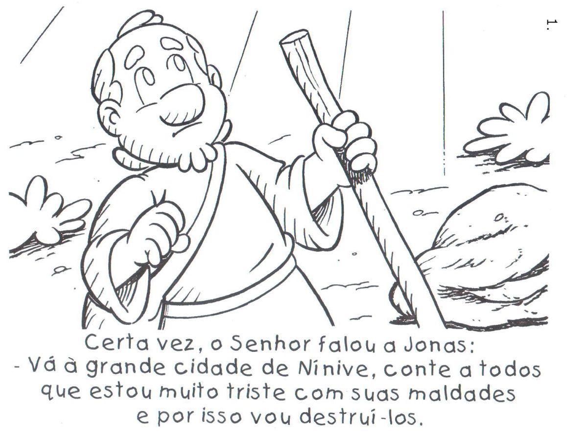 Historinha Biblica De Jonas E O Grande Peixe Para Colorir Pintar