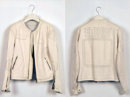 Maison Martin Margiela - S/S 2002. Line 10 - Photo Guy Voet - White leather jacket with plain applique logos.