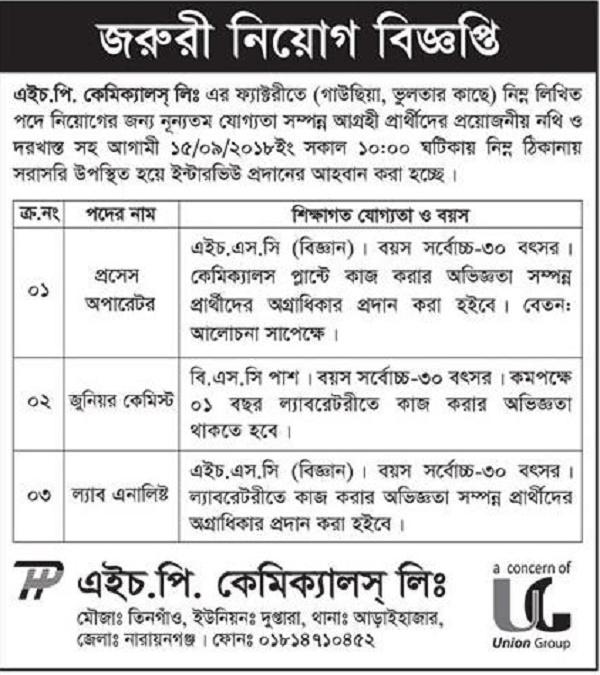 HP Camical Limited Job Circular 2018 - Weekly Chakrir Khobor