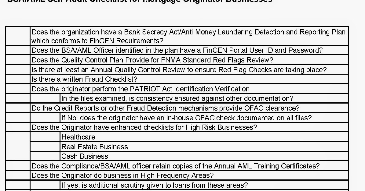 Mortgage News Digest: State Examinations - AML/BSA Compliance - Self ...