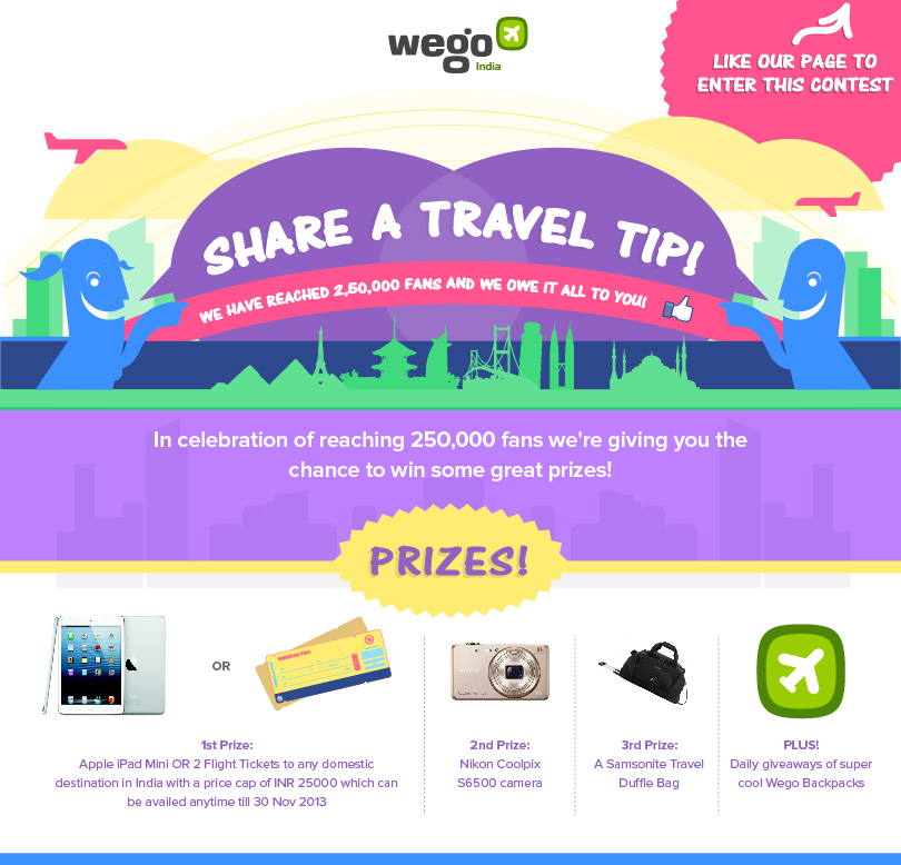Contest !! Share a Travel Tip Win an iPad, Camera & Lots More Daily