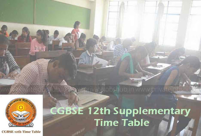 CGBSE 12th Supplementary Time Table