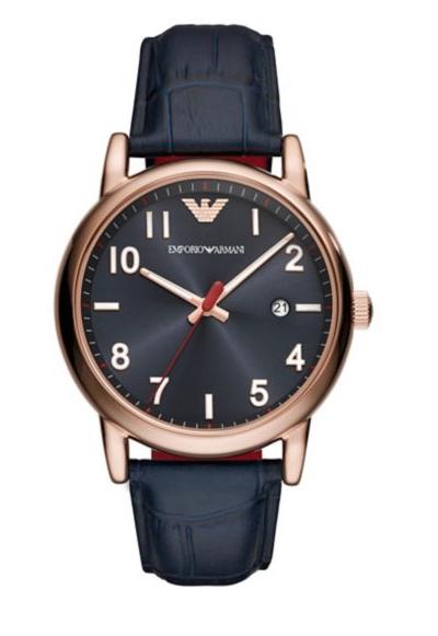 Emporio Armani Luigi Leather-Strap Dress Watch