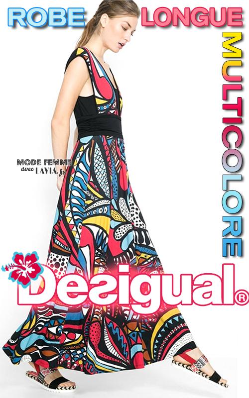 Robe longue d'été multicolore Desigual