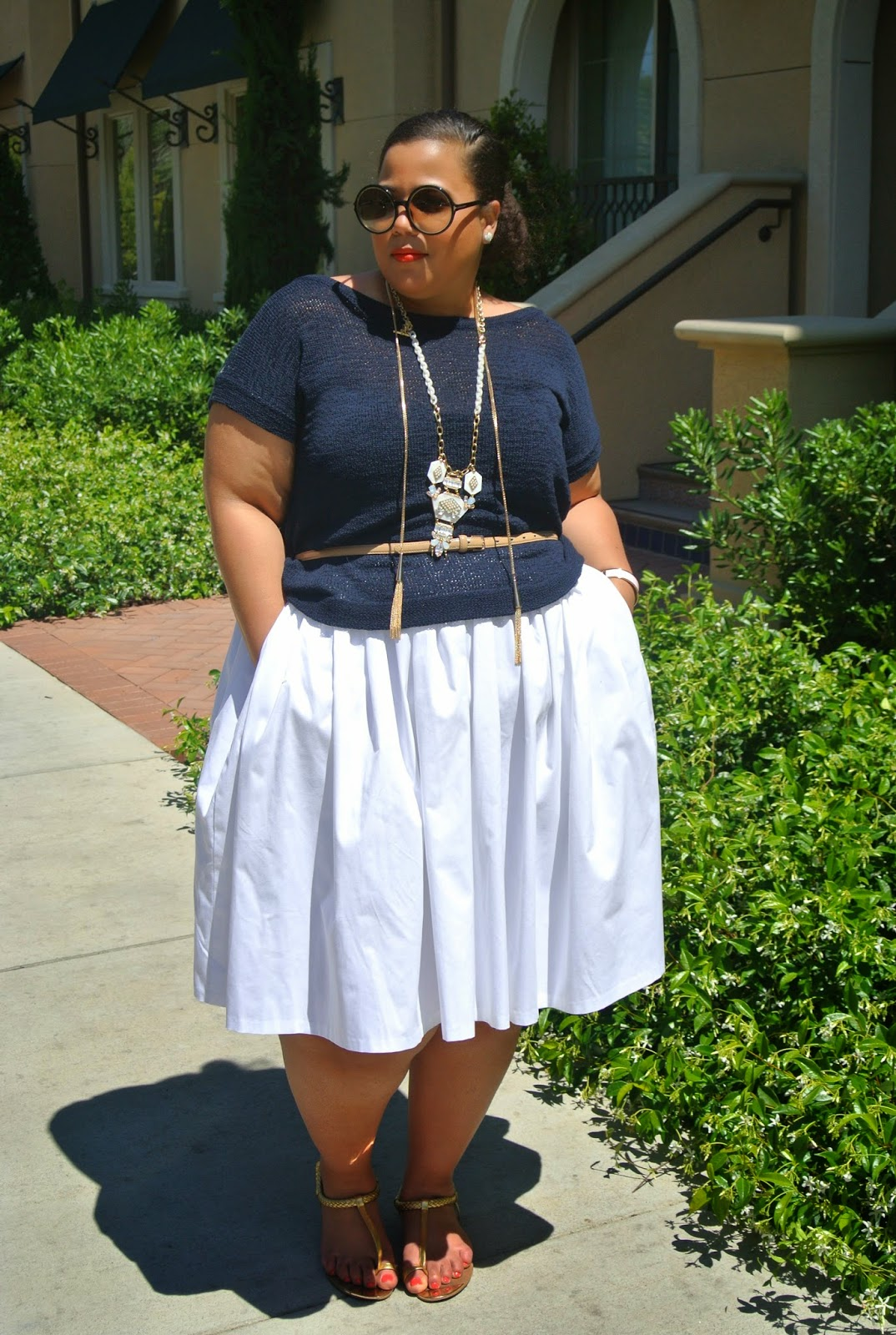 Plus Size Nautical Outfit, Navy and white outfit