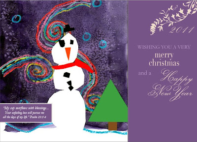 snowman Christmas card with purple background Merry Christmas and a Happy New Year