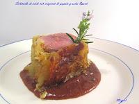 Solomillo de cerdo con crujiente de patatas y salsa de Oporto