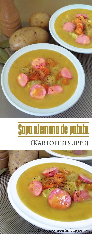 SOPA ALEMANA DE PATATA Kartoffelsuppe cocina receta alemana pobres crema verduras salchichas comfortfood