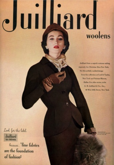 Model wear suit in 1951 Christian Dior Ad featuring Julliard Woolens