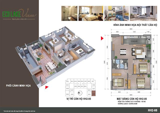 Thiết kế căn hộ 05 tòa HH-02 Eco Lake View