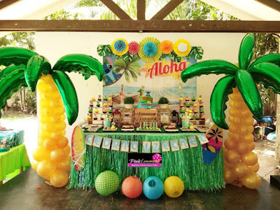 Hawaiian themed dessert buffet set-up
