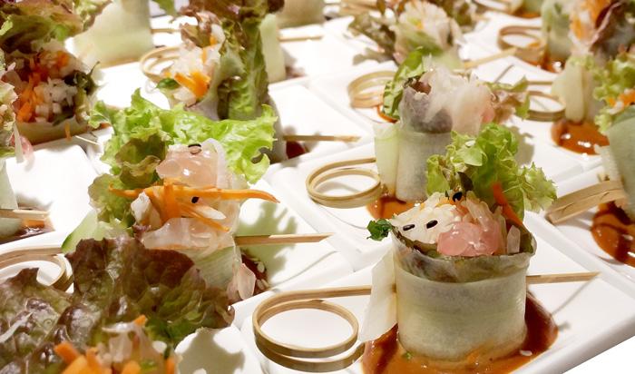 Pomelo Salad Spring Rolls with Hoisin Chili Peanut Dip