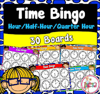Time Bingo to the hour half-hour and quarter hour