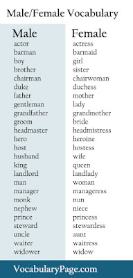 Male/Female Vocabulary