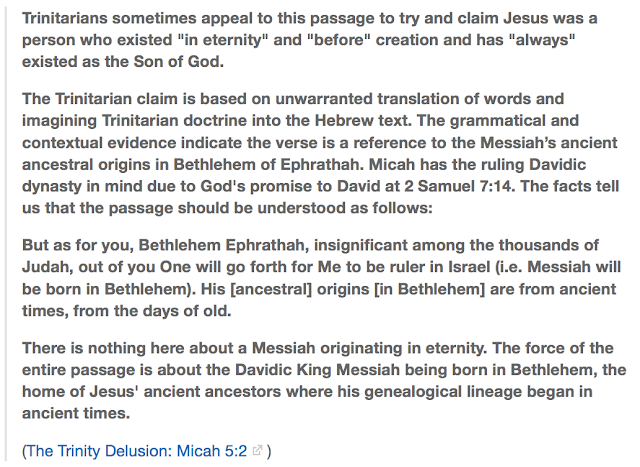 The Trinity Delusion Micah 5:2.